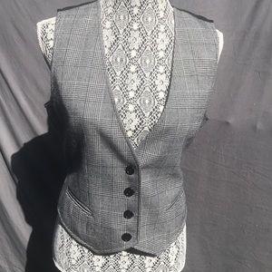 Wool Plaid button-up black & white Vest adjust bac